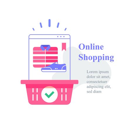 Online shopping concept, basket and clothes, purchase delivery, sale offer, vector illustration