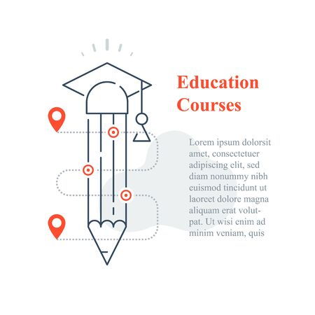 Education concept, online university, distant learning, next level success, fast course, creative writing or storytelling, exam prepare, higher achievement, vector line icon