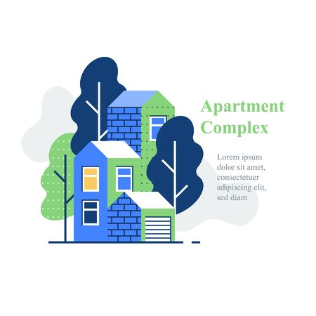 Apartment complex, residential neighborhood, house building and development, green area, vector icon, flat illustration