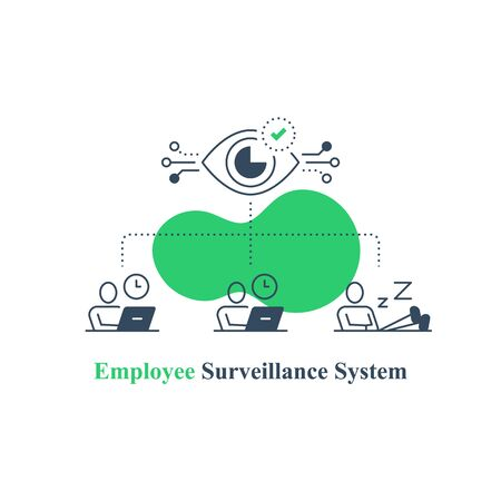 Employee monitoring system, surveillance concept, distant work tracking software, performance assessment solution, behavior prediction technology, business management and administration, vector icon