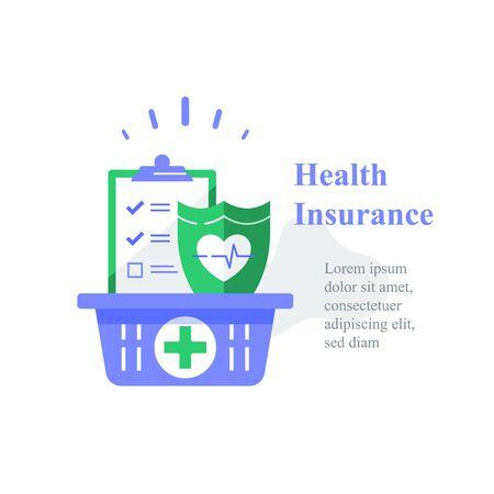 Health insurance, medical program, checklist clipboard and shield, annual checkup, sick leave, vector icon