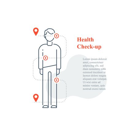 Annual medical examination, regular health check up, diagnostic and analysis, body pain, painkiller medicine, vector line icon