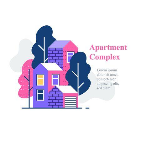 Apartment complex, residential neighborhood, house building and development, vector icon, flat illustration Ilustração