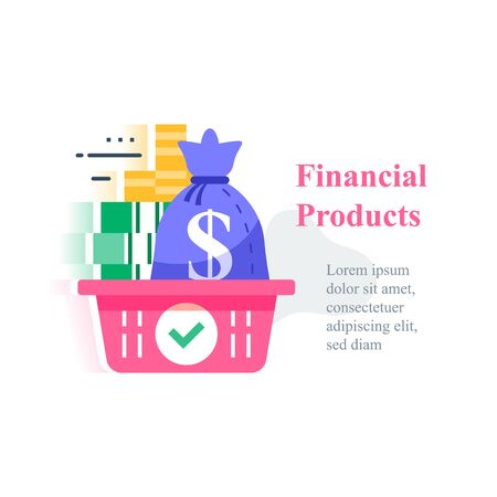 Investment concept, revenue growth, financial solution, pension fund, savings account, fast cash loan, money bag in basket, debt refinance, tax return, budget plan, vector icon