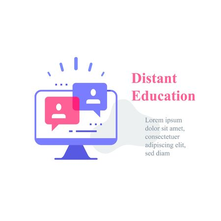 Webinar concept, online course, distant education, video lecture, internet group conference, training test, work from home, easy communication, vector icon 矢量图像