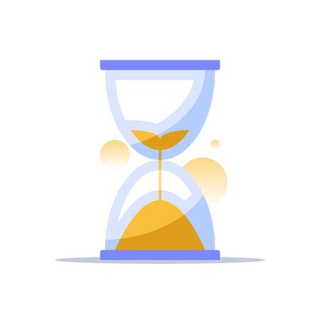 Hourglass illustration, time concept, sand clock countdown, vector icon
