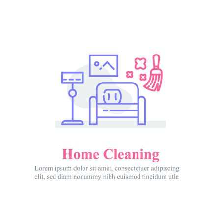 Home cleaning services, living room interior, outline furniture, vector line icon
