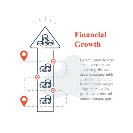 Long term investment strategy, stock market portfolio increase, boost revenue, business growth, capital allocation, financial solution, wealth managing, fundraising concept, vector line icon