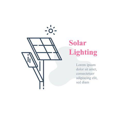 Solar panel lighting system, street lamp, energy efficient lantern, autonomous solution, vector line icon Ilustracje wektorowe