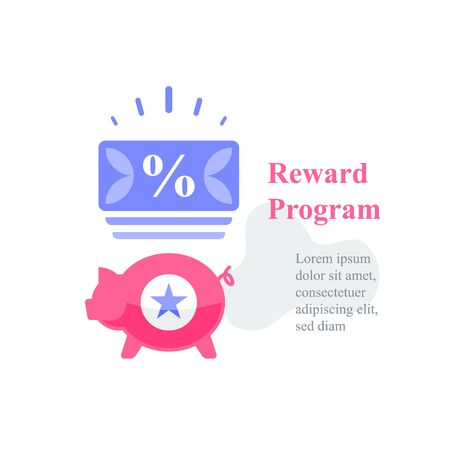 Piggy and coupon, reward program, loyalty present, incentive concept, earn points, redeem gift, special prize for shopping, collect incentive bonus, vector icon