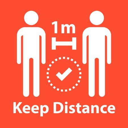 Keep social distance sign, coronavirus safety warning, vector icon