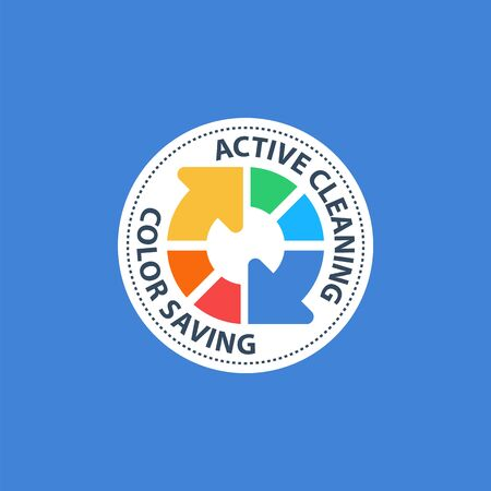 Multi-color circle arrow, machine washing, active cleaning, color saving, cloths care, vector icon Ilustração