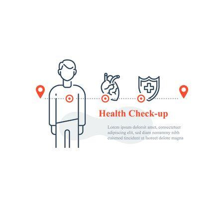 Heart illness diagnostic, cardiovascular disease test, stroke risk prevention, hypertension treatment, annual medical examination, regular health check up, vector line icon