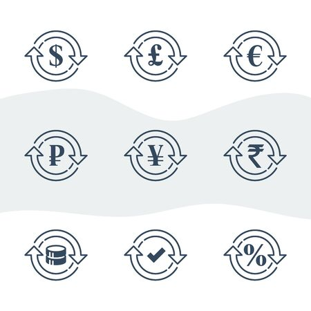 Currency exchange, financial services, pound and euro, dollar sign in circle arrow, ruble and rupee symbol, interest rate, debt refinance, return money, vector line icon set