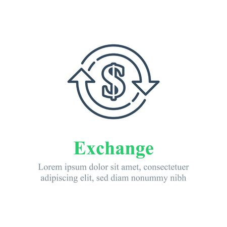 Currency exchange, financial services, dollar sign in circle arrow, interest rate, debt refinance, return money, vector line icon 矢量图像