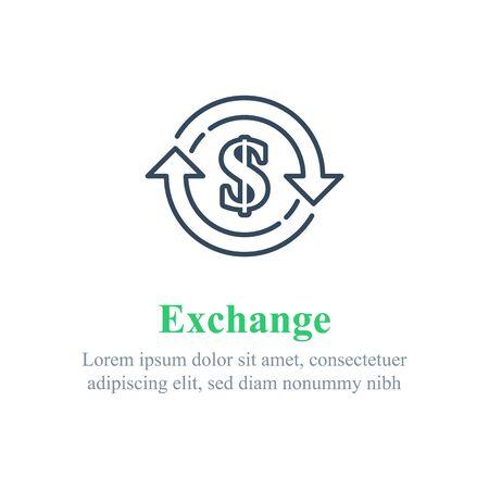 Currency exchange, financial services, dollar sign in circle arrow, interest rate, debt refinance, return money, vector line icon Ilustração