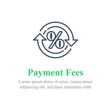 Currency exchange fees, financial services, percentage sign in circle arrow, interest rate, debt refinance, return money, cash back, vector line icon 矢量图像