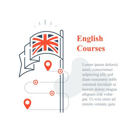 Learn English language, linguistic courses, training class, speaking improvement, exam or test preparation program, school services, vector line icon