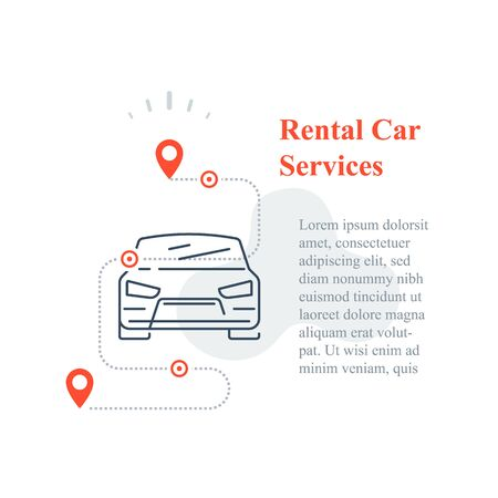 Rental car services concept, share auto transport, vector line icon