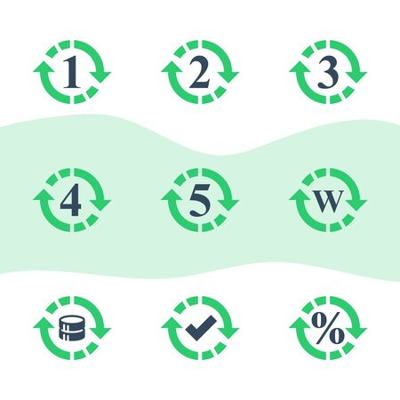 One or five year warranty sign, number two in circle arrow, round three symbol, durable product, durability guarantee, period cycle, upgrade level, vector icon set Иллюстрация