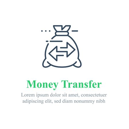 Transfer money concept, send or receive payment, financial tracking solution, bank savings account, fast loan, vector line icon 矢量图像