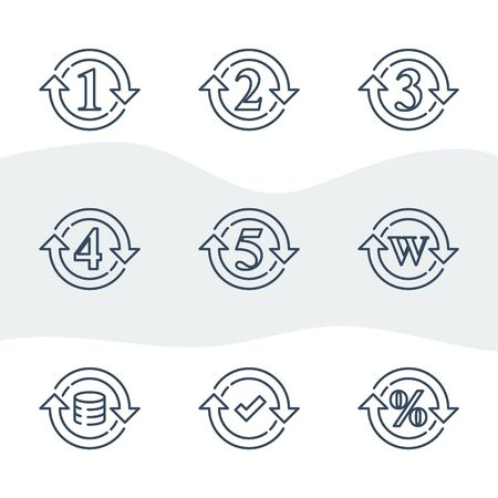 One or five year warranty sign, number two in circle arrow, round three symbol, durable product, durability guarantee, period cycle, upgrade level, vector line icon set