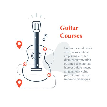 Acoustic guitar courses, learn to play music instrument, training class, vector line icon