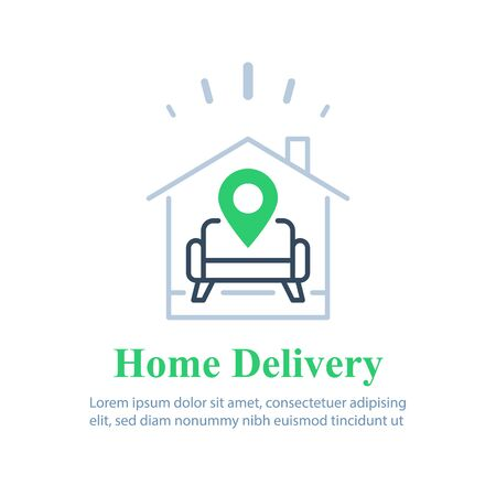 Home delivery services, move house , find apartment to rent, rental estate, guesthouse concept, vector line icon Ilustración de vector