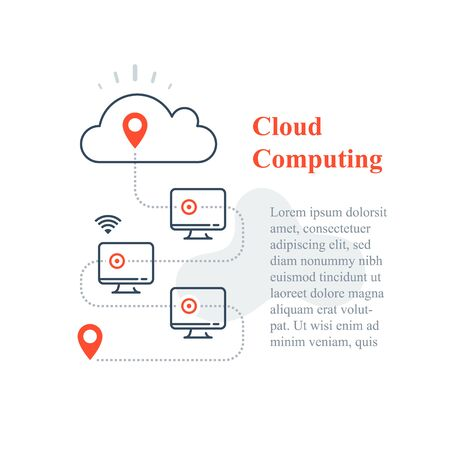 Cloud computing system, remote work access, wireless technology, computer network connection, distant administration, gather data and process, vector line icon 矢量图像