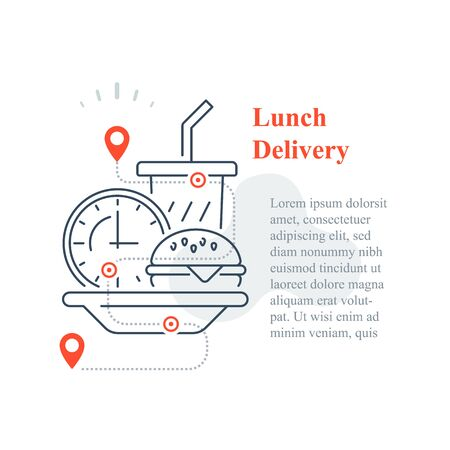 Fast food delivery to home, eat at home, order meal, vector line icon