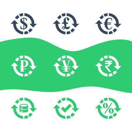 Currency exchange, financial services, pound and euro, dollar sign in circle arrow, ruble and rupee symbol, interest rate, debt refinance, return money, vector flat icon set
