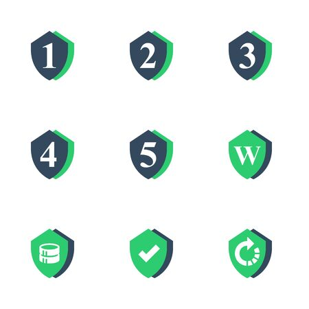 One, two or three year warranty sign, number four and five in shield, durable product, durability guarantee, longer capacity, upgrade level, vector flat icon set Иллюстрация