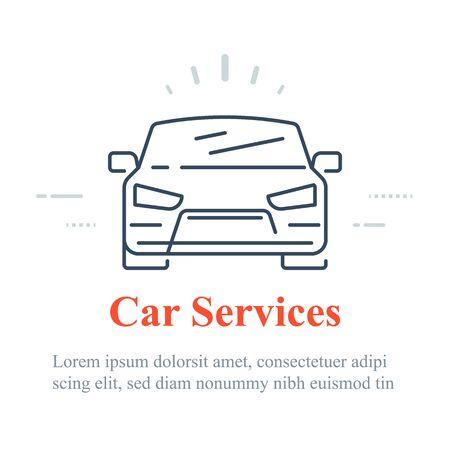 Car icon, auto services concept, vector linear design