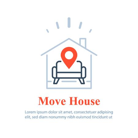 Home delivery services, move house , find apartment to rent, rental estate, guesthouse concept, vector line icon
