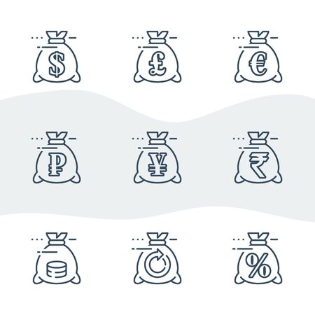 Money bag line icon set, currency exchange, pound and euro sign, ruble and rupee symbol, yen and sack, revenue increase, budget plan, loan payment,business expenses, bank savings account