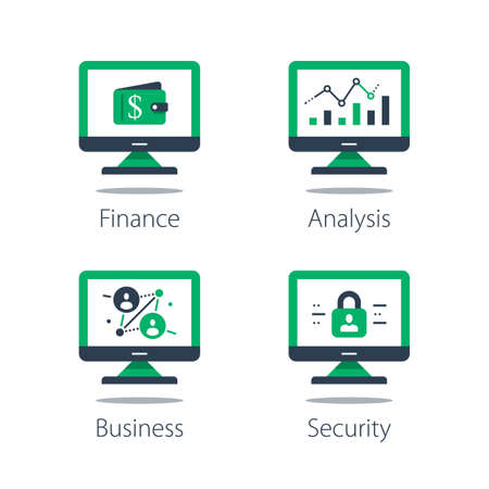 Online finance, internet banking, web security, computer monitor and padlock and financial security system concept illustration.