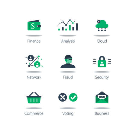 Online finance, data analysis, cloud computing, internet security and shopping basket on computer monitor concept illustration.