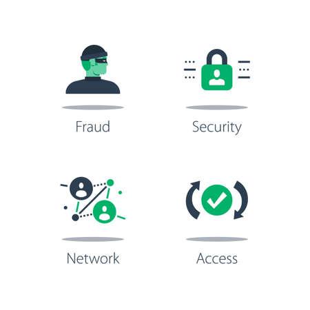 Network security system, online safety, strong protection, web server vulnerability, software solution and data theft concept illustration. Ilustração