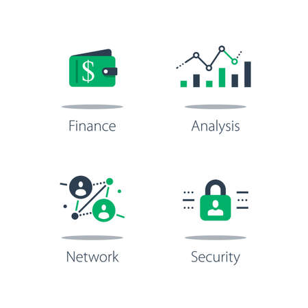Online finance, internet banking, web security, computer monitor and padlock, financial security system