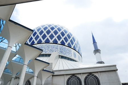 Blue Mosque in Malaysia Stock Photo