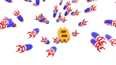 usa missles to bitcoin 3d illustration