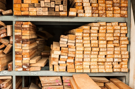 flute structure: Pile of Wood Stored in stock on shelf Stock Photo