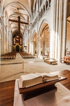 worship service: In side of Notre-Dame Cathedral - Lausanne, Switzerland