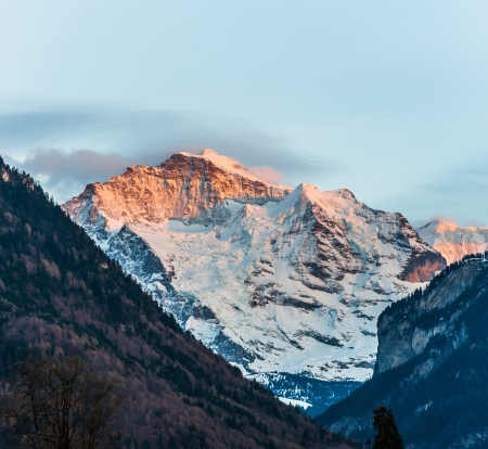 christmas landscape: Snow Mountain Landscape with Blue Sky from Jungfrau Region
