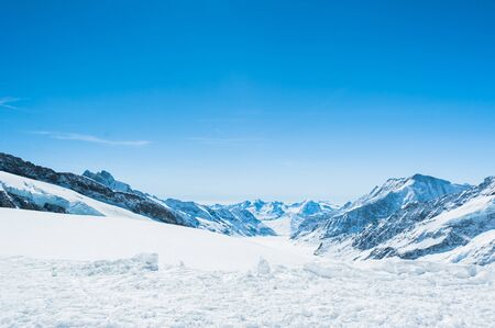 snow road: Snow Mountain Landscape with Blue Sky from Jungfrau Region