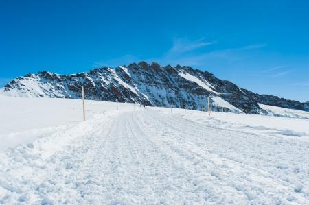 ski walking: Snow Walking path in to the snow mountain for ski player