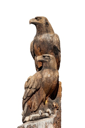 the totem pole: Wood Craft of Twin Eagle on White Background Stock Photo