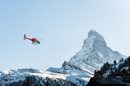 rescue helicopter: Matterhorn View with Helichopter