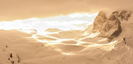 abstract sunlight shining to snow Stock Photo