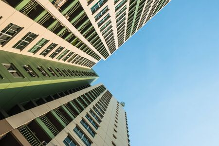 sky scrapers: Looking up the sky by side of the condominium